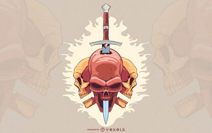 Pierced skull dagger illustration design