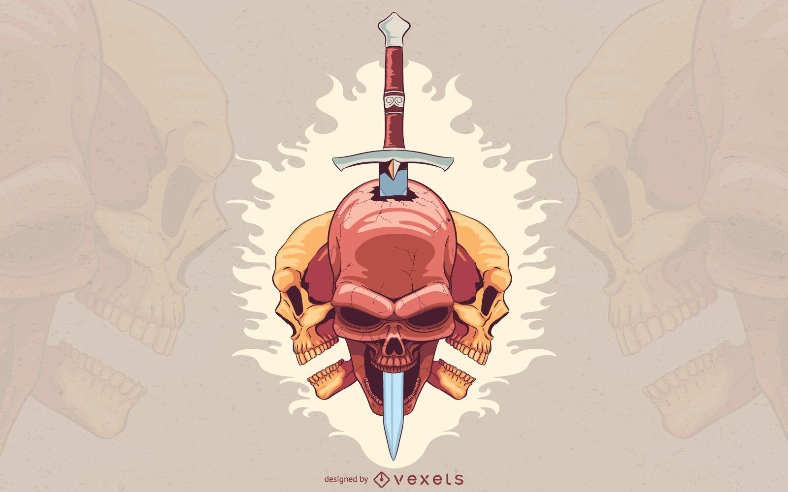 Pierced skull dagger illustration design
