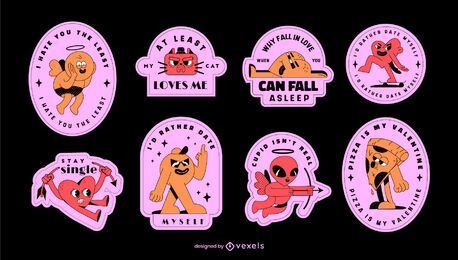 Anti valentine's day badge set