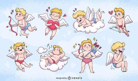 Diseño de conjunto de personajes de cupidos lindo