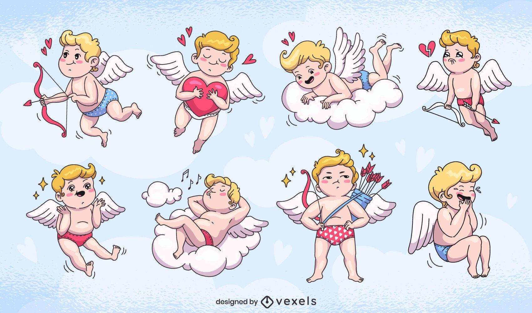 Cute cupids character set design