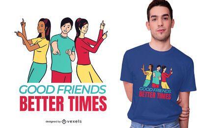 Diseño de camiseta de buenos amigos