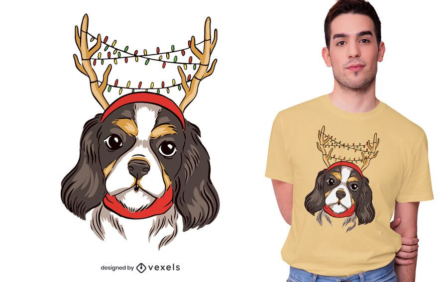 Design de t-shirt de rena de cão cavalheiro