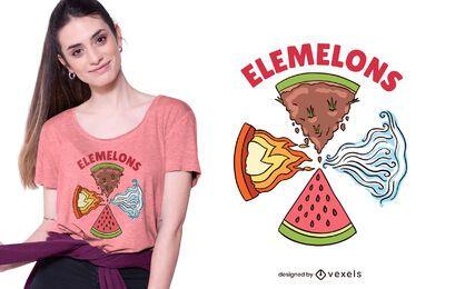 Diseño de camiseta de elementos de sandía.
