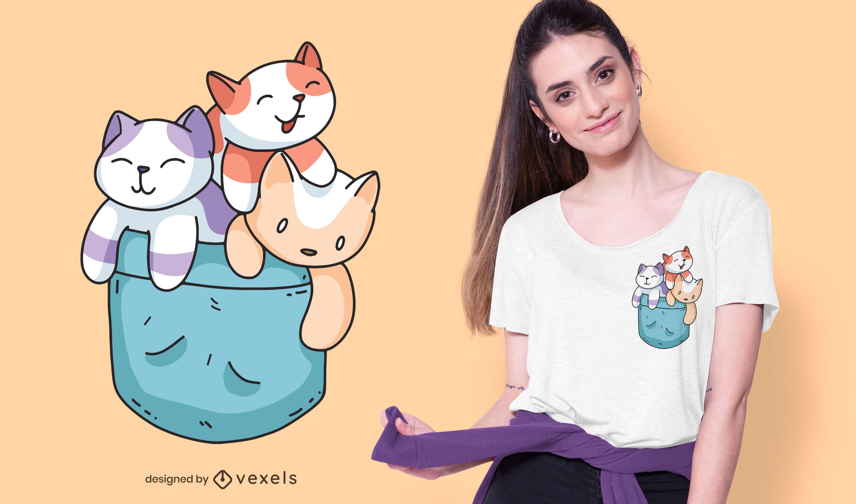Diseño de camiseta con bolsillo de gatos
