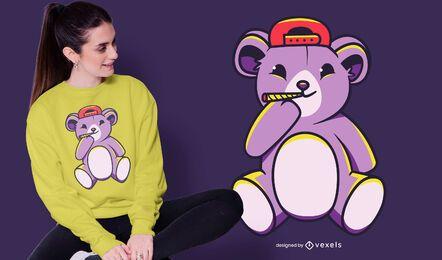 Diseño de camiseta conjunta de oso de peluche.