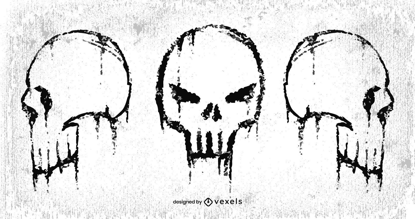Cenografia de caveiras sem mandíbula