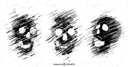 Grunge Schädel Set Illustration Design