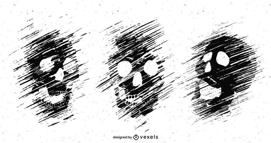 Grunge skull set illustration design