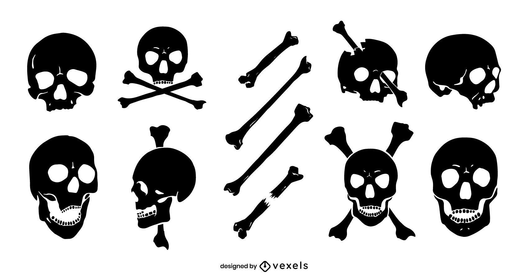 Skulls silhouette set design