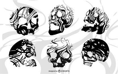 Cráneo con diseño de líneas de flujo