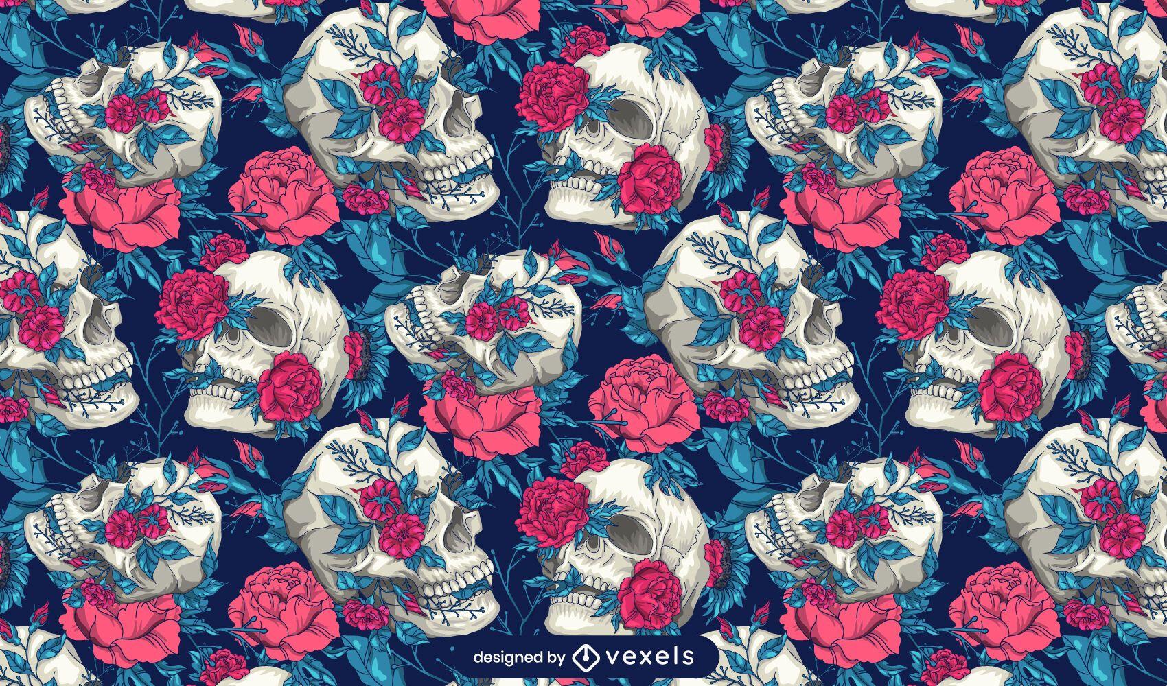 Diseño de patrón de calaveras florales