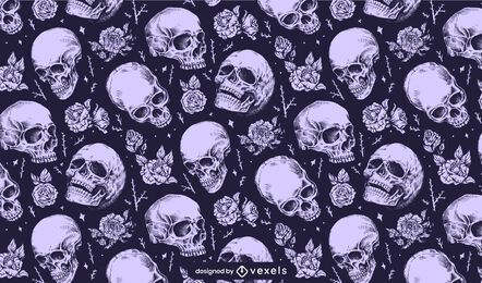 Skulls with flowers pattern design