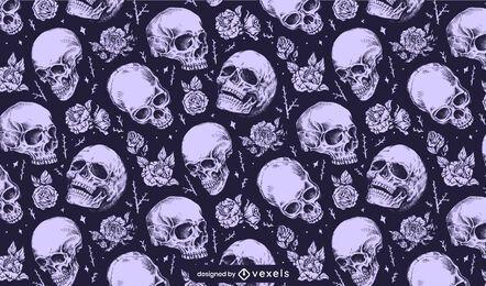 Skulls with flowers pattern design