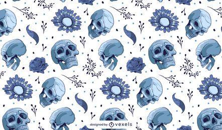 Diseño de patrón de calaveras y flores