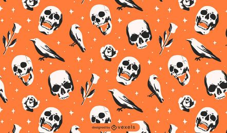 Desenho de padrão de corvos de caveiras