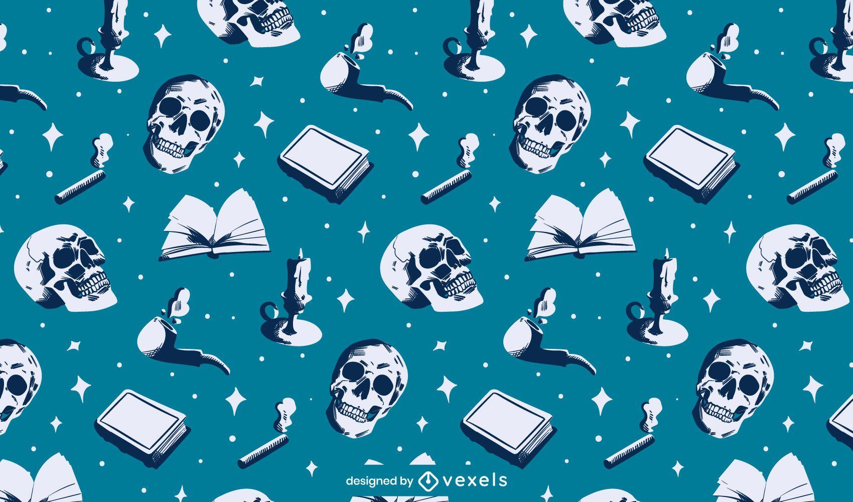 Grunge skulls pattern design