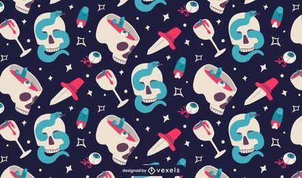 Flat skulls pattern design