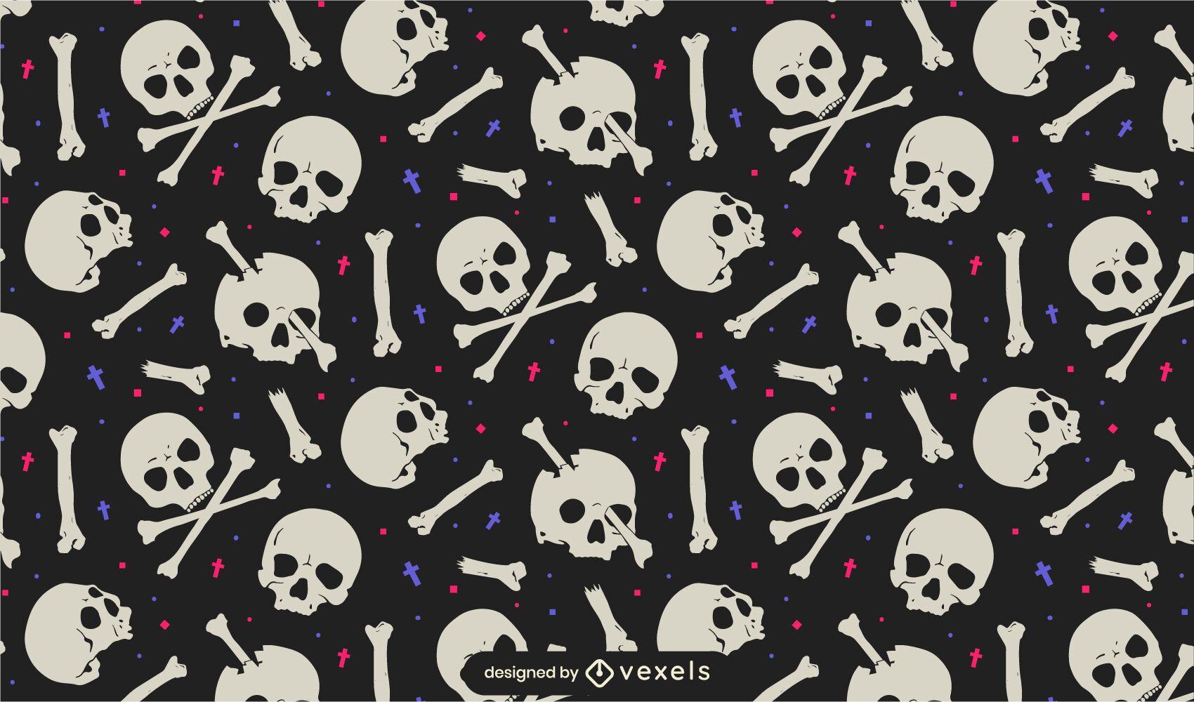 Diseño de patrón de calaveras y huesos