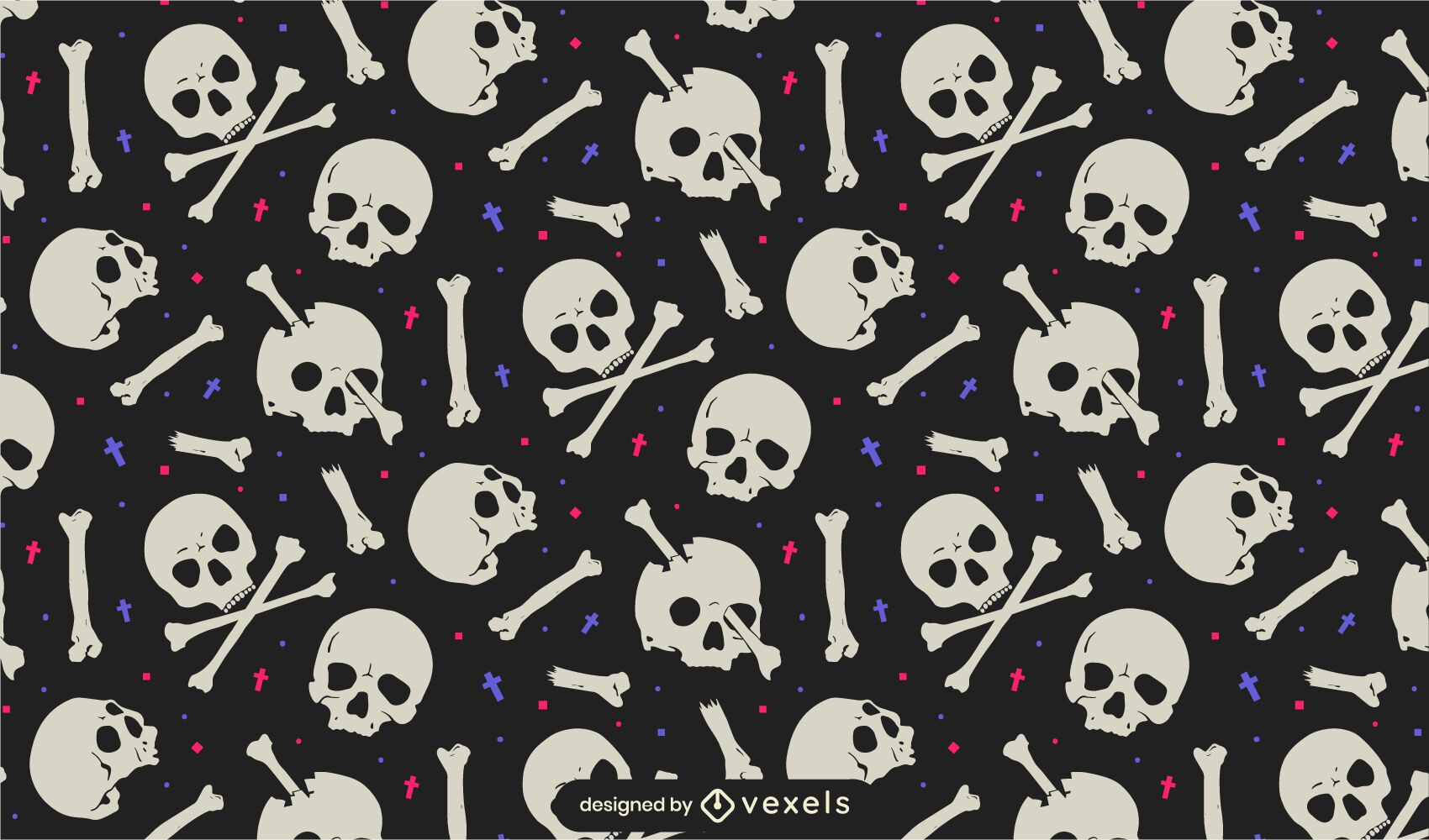 Skulls and bones pattern design