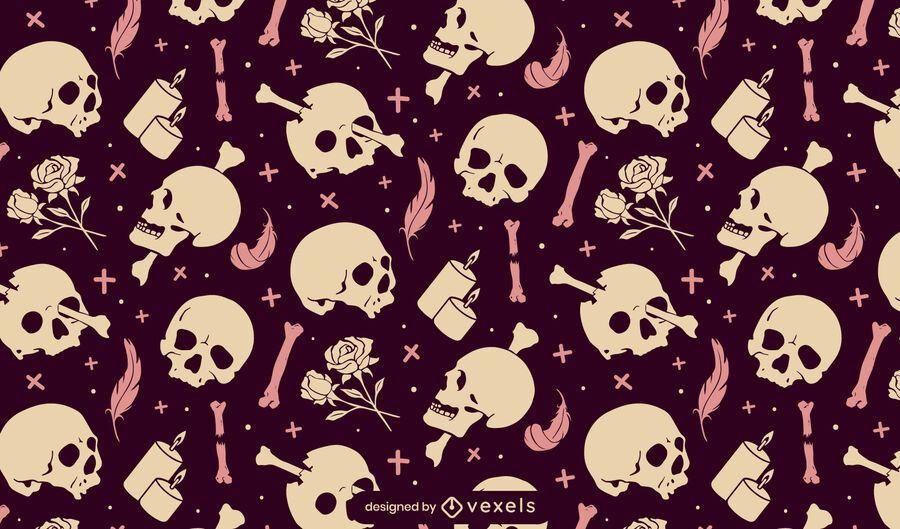 Desenho de padrão de crânios em sépia
