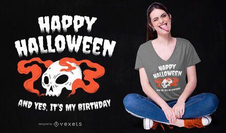 Design de t-shirt de aniversário de Halloween