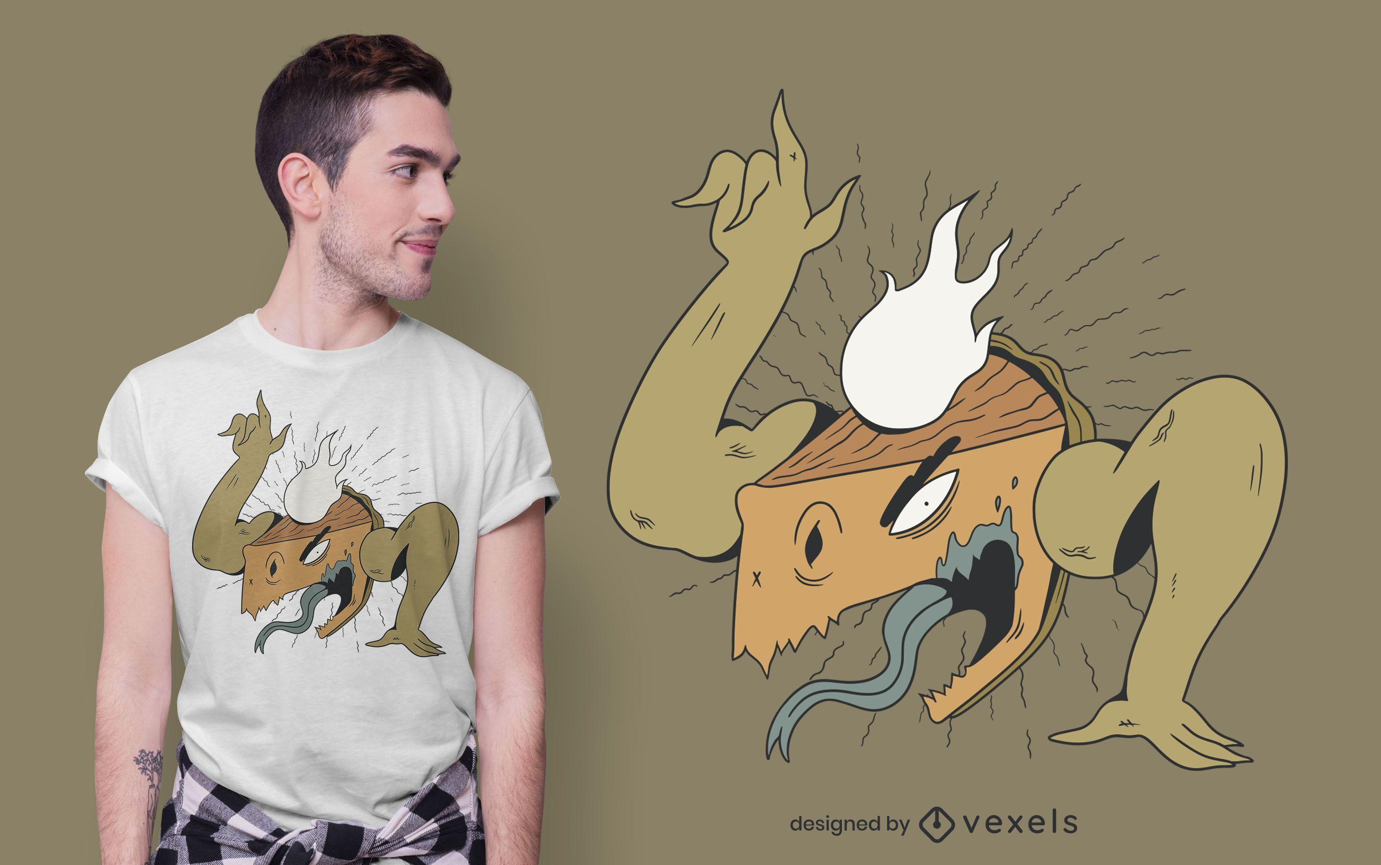 Pumpkin pie monster t-shirt design