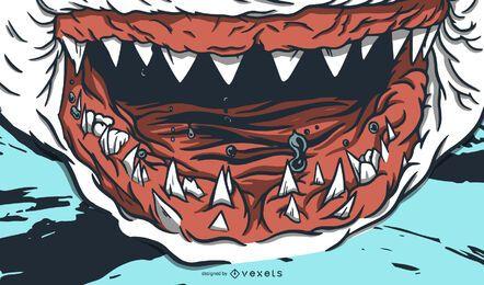 Hai Zähne Zähne Illustration Design