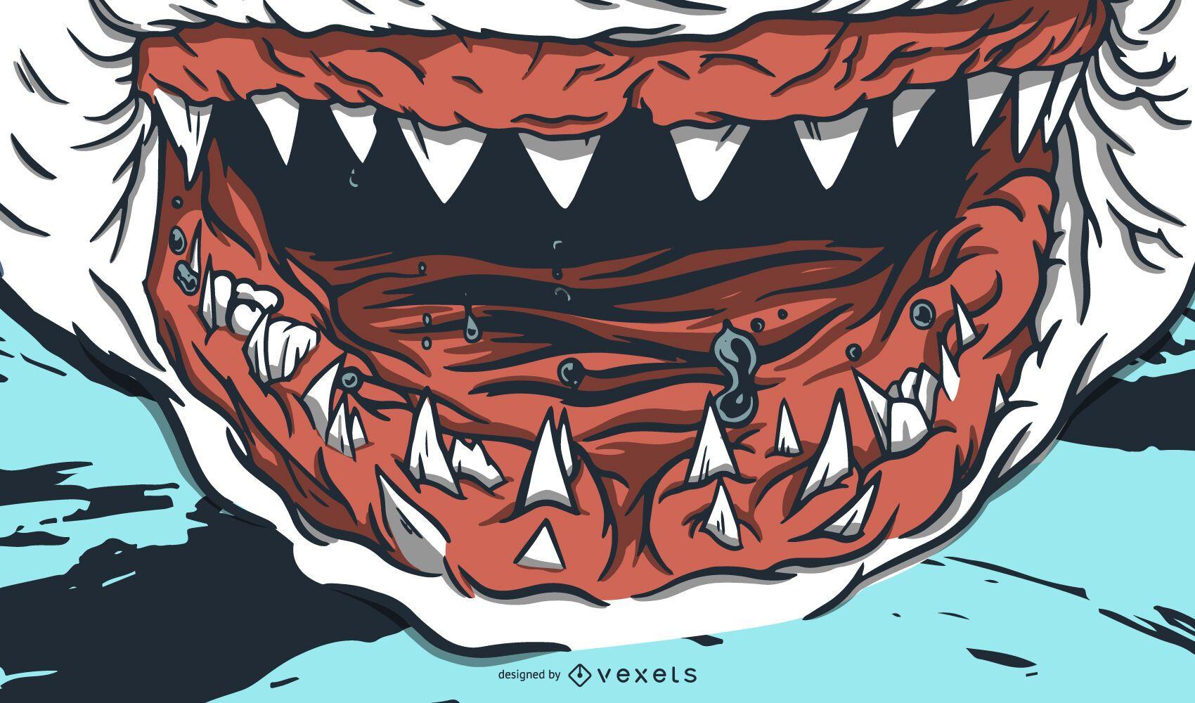 Desenho de ilustração de dentes de tubarão