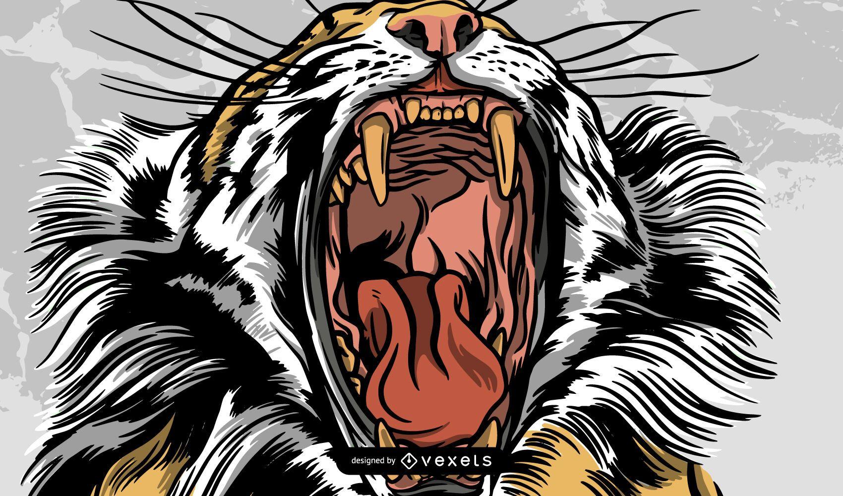 Diseño de ilustración de tigre rugiente