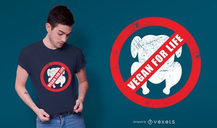 Diseño de camiseta vegana de por vida.