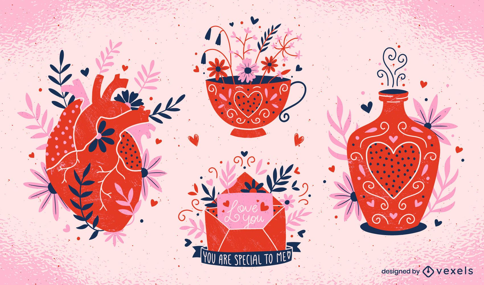 Valentine's day compositions set
