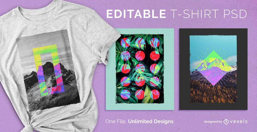 T-shirt escalável em cores invertidas psd