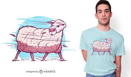 Design de camiseta de ovelhas em uma tempestade