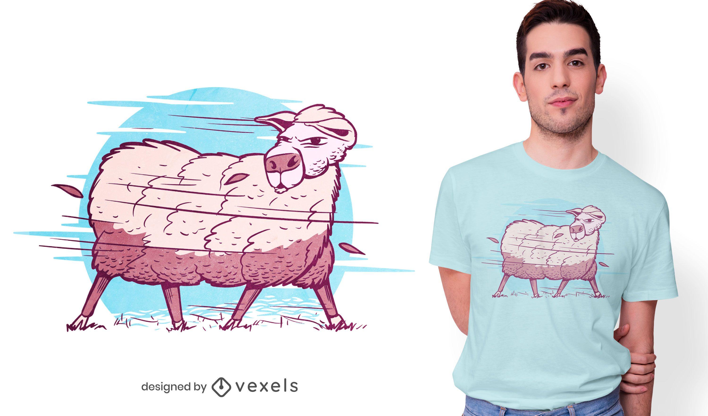 Oveja en un diseño de camiseta de tormenta.