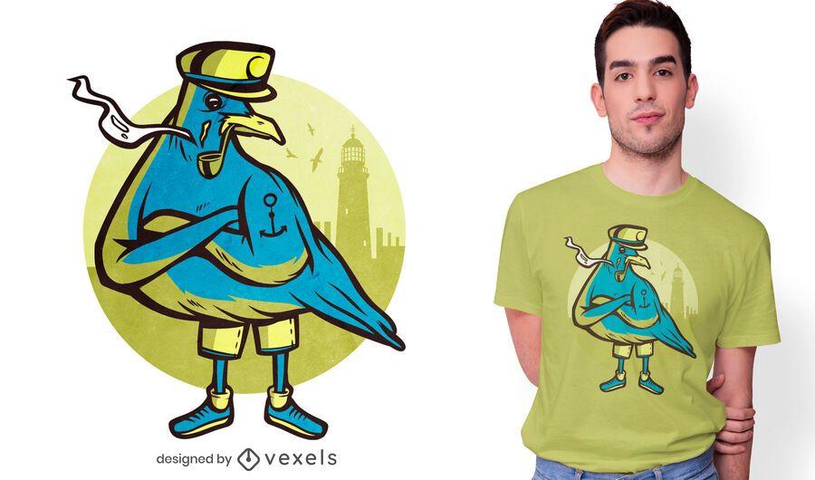 Diseño de camiseta de gaviota marinero