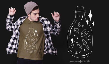 Diseño de camiseta de botella espacial.