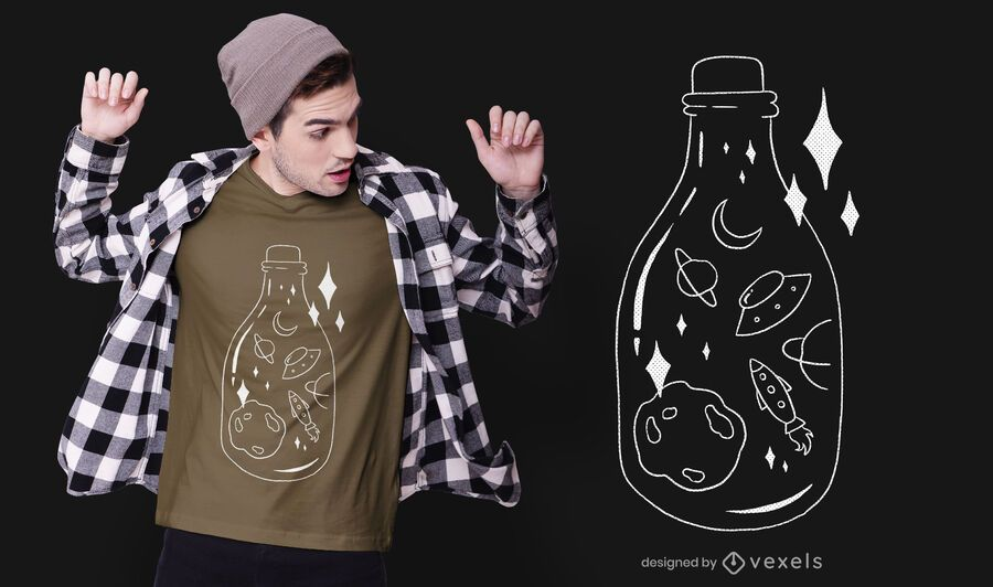 Space bottle t-shirt design