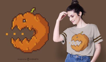 Pixel pumpkin t-shirt design