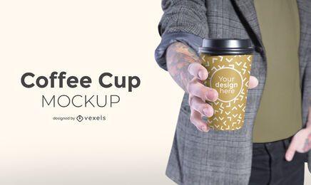 Modelo con diseño de maqueta de taza de café.