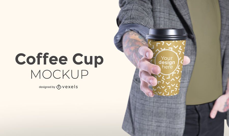 Modelo com design de maquete de xícara de café