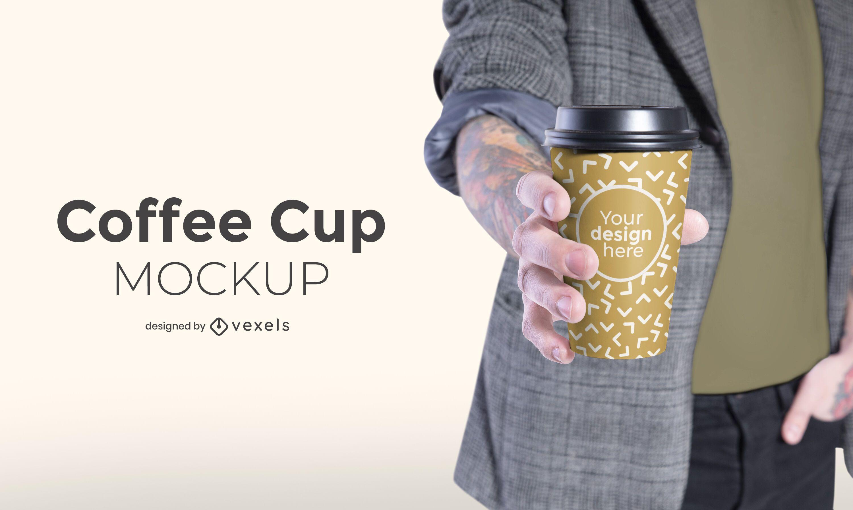 Modelo con dise?o de maqueta de taza de caf?.