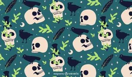 Desenho de padrões de crânios e corvos