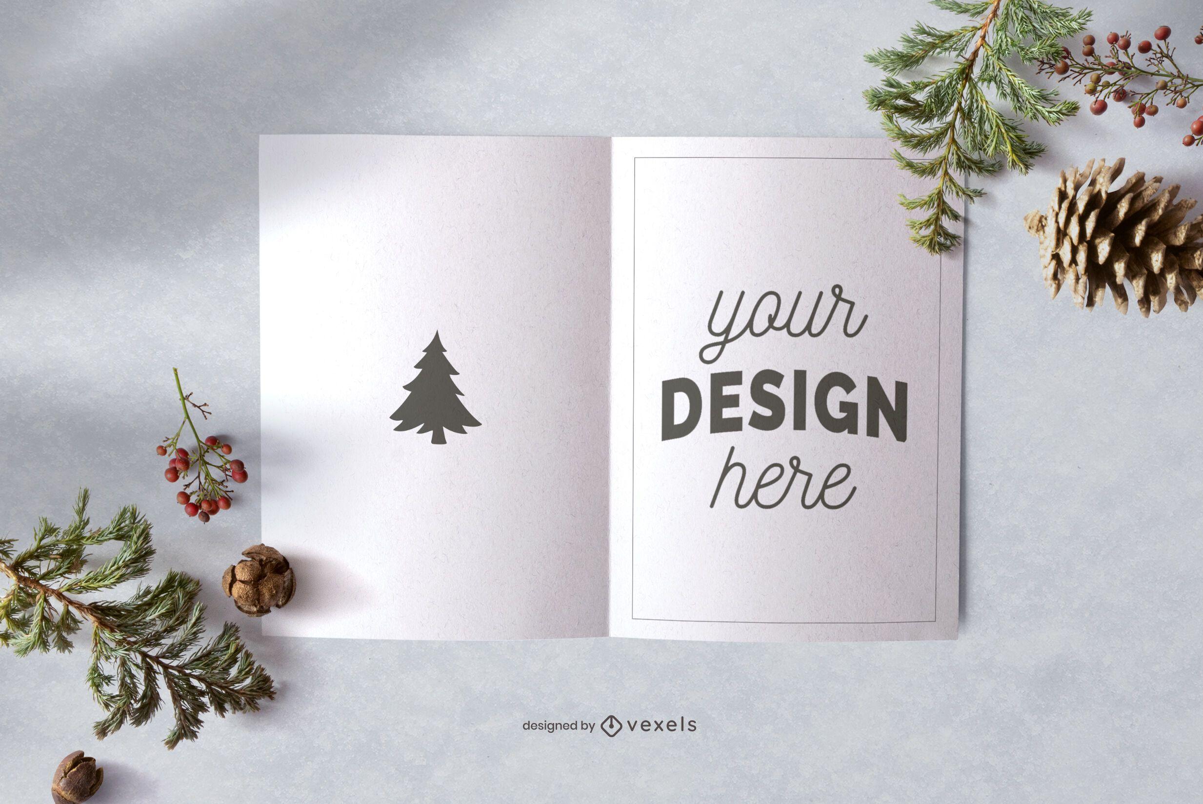 Christmas greeting card mockup design
