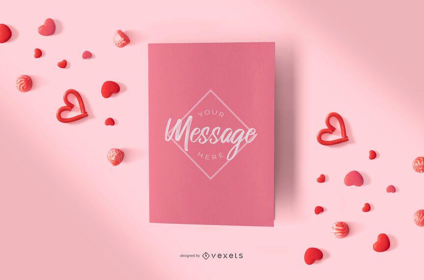 Composição de maquete de cartão de dia dos namorados