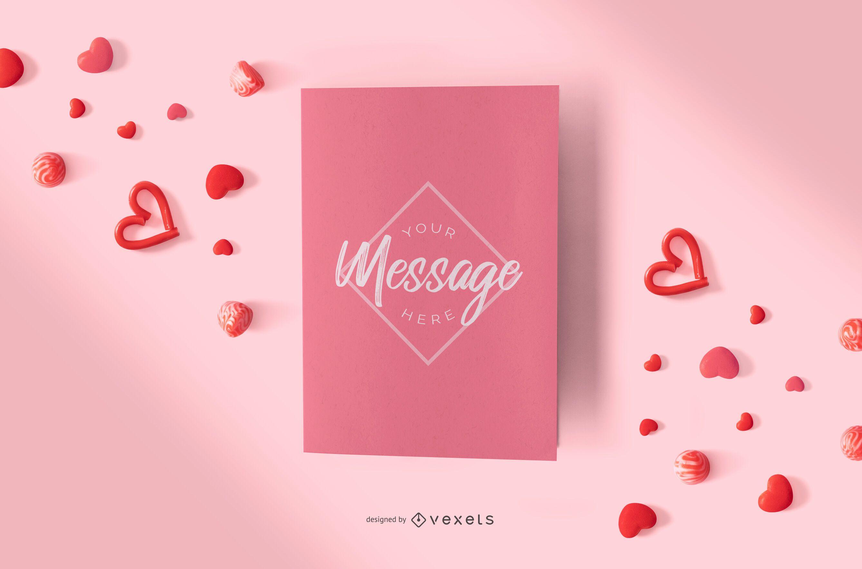 Composición de la maqueta de la tarjeta del día de San Valentín