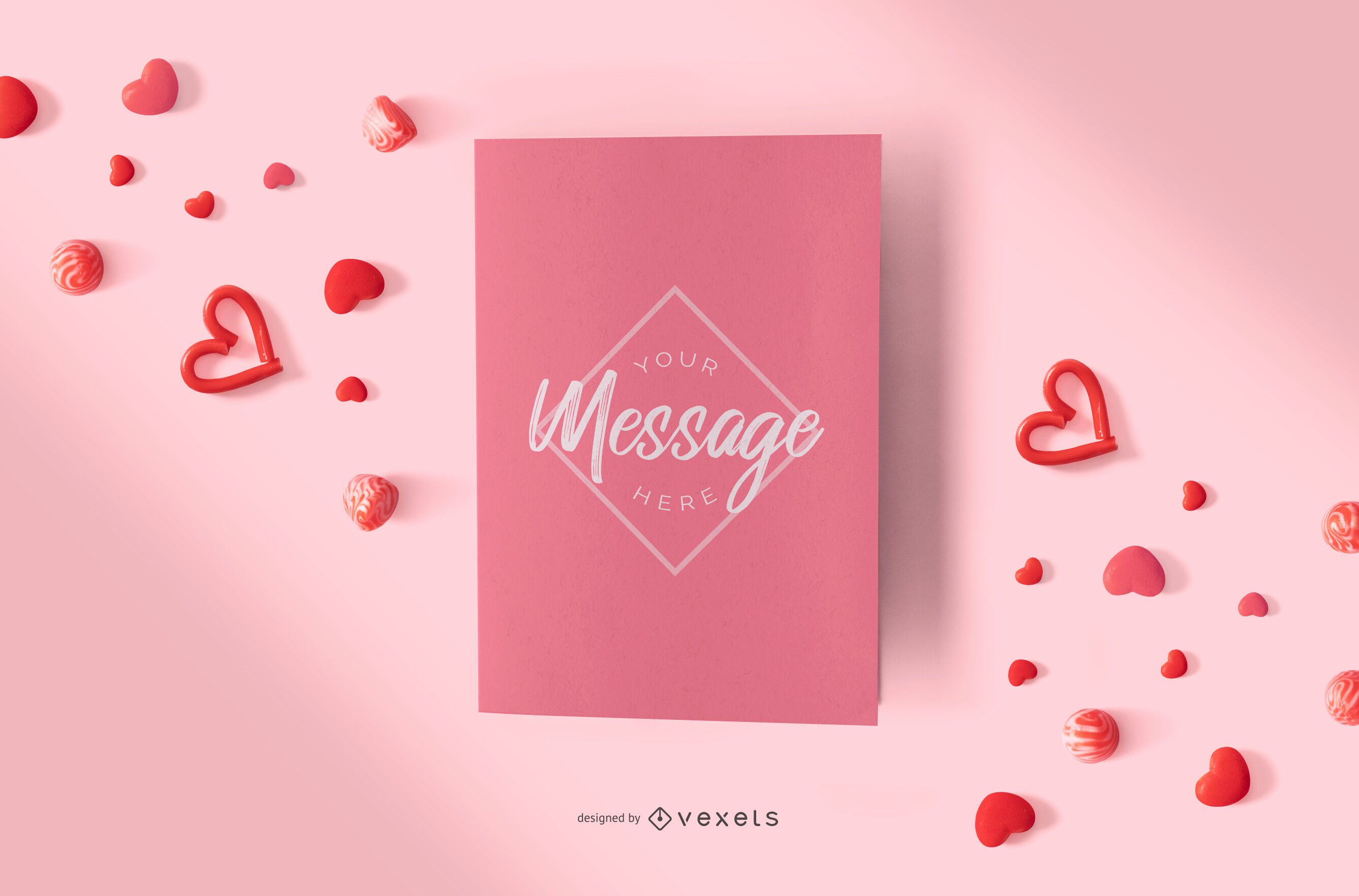 Valentines day card mockup composition