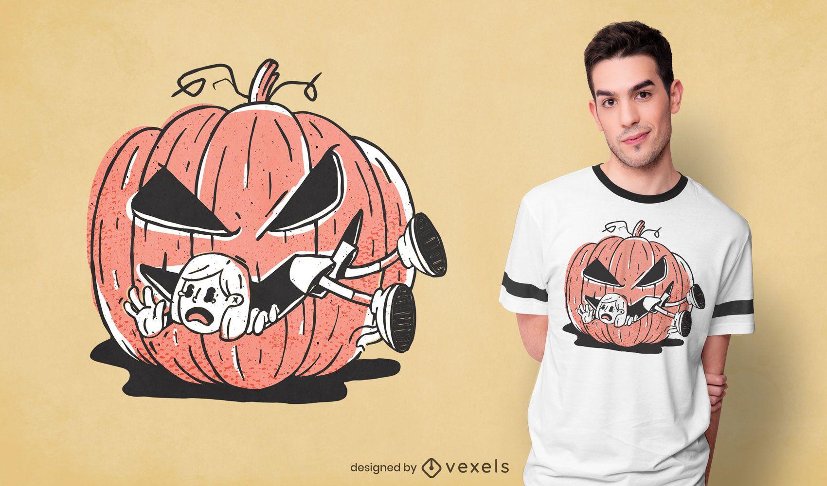 Pumpkin eating girl t-shirt design