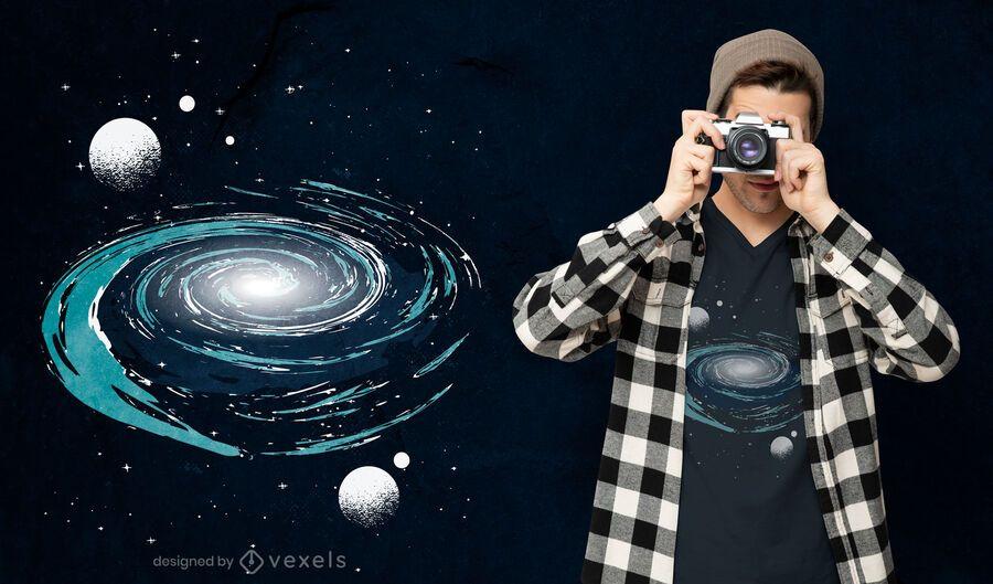 Diseño de camiseta de nebulosa espacial.