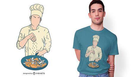 Diseño de camiseta de chef salado champiñones.